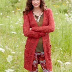 Matilda Jane Dark Orange Crochet Cardigan Sz M